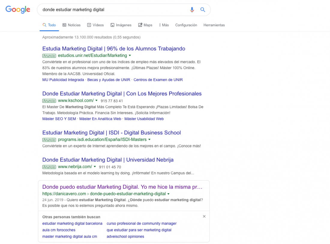 Recomendaciones para estudiar marketing digital en google